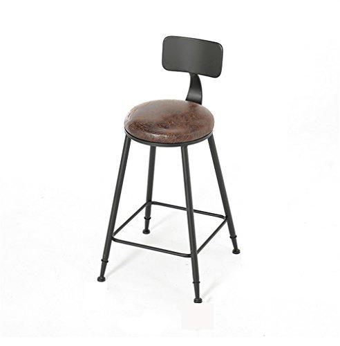 Mode-amerikanischer Art-Eisen-Kunst-Bar-Stuhl Retro- festes Holz / PU-lederner Barhocker, der Stuhl für Familie und Geschäfts-Büro speist (Größe: 46 × 46 × 65cm)
