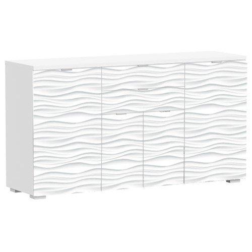 PHOENIX 155601WE Sideboard mit 4 Schubladen und 2 Türen, Holz, weiß, 45 x 160 x 86 cm