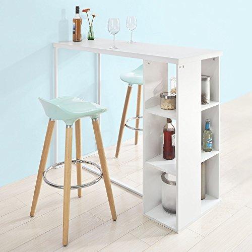 SoBuy® FWT39-W Bartisch Beistelltisch Stehtisch Küchentheke Küchenbartisch mit 3 Regalfächern, weiß, BHT ca: 120x105x49cm