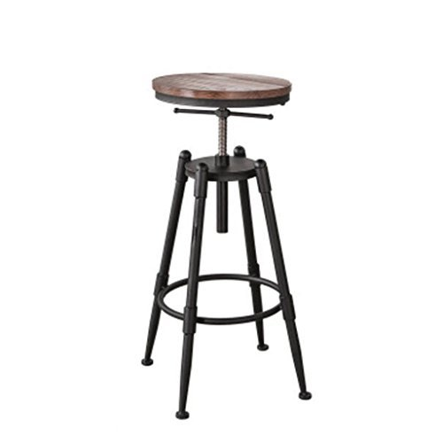 Sofa Hocker Barhocker Verstellbare Sitzhöhe (68-90cm) Massivholz Eisen Barhocker American Retro Barhocker Hochstuhl Coffee Chair Lounge Chair Schemel