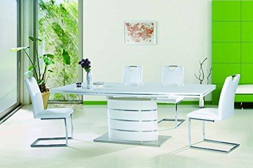 tisch esstisch 39 fano 140 39 esszimmertisch s ulentisch 90x200 hochglanz wei ausziehbar edel. Black Bedroom Furniture Sets. Home Design Ideas