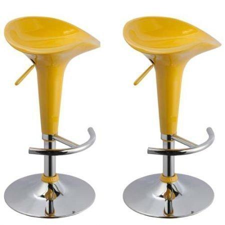 lounge-zone 2er Set Barhocker Barsessel Barstuhl Hocker Tresenhocker Loungehocker Loungesessel BEACH orange Trompetenfuß Metallgestell verchromt Stufelos höhenverstellbar drehbar mit Fußablage pflegeleicht 8457