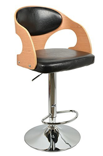 ts-ideen 1 x Barhocker Retro Design Chill Lounge Barsessel Club Stuhl Holz Glanz Schwarz