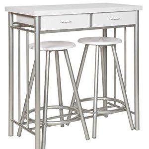 ts-ideen 3er Set Essgruppe Esstisch Küchen-Tisch Frühstückstisch 83 x 80 cm auf in Weiß Stuhl Hocker für Küche Esszimmer Studentenwohnung
