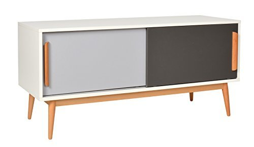 ts ideen sideboard kommode lowboard tv bank weiss grau dunkelgrau 120 x 55 cm esszimmerst. Black Bedroom Furniture Sets. Home Design Ideas