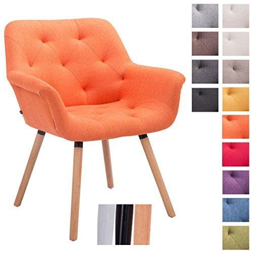 CLP Besucher-Stuhl CASSIDY, Stoff-Bezug, belastbar bis 150 kg, Retro-Stuhl mit Armlehne, sesselförmiger Sitz, gepolstert, Sitzhöhe 45 cm Orange, Holz (Eiche) Farbe: Natura