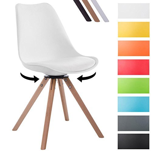 CLP Design Retro-Stuhl TROYES RUND, Kunststoff-Lehne, Kunstleder-Sitz, drehbar, gepolstert Weiß, Holzgestell Farbe natura, Form rund