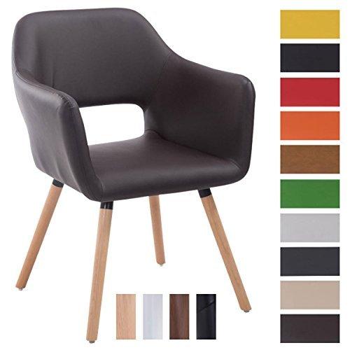 CLP Besucher-Stuhl AUCKLAND mit Armlehne, max. Belastbarkeit 160 kg, Holz-Gestell, Kunstleder-Bezug, Sitzfläche gepolstert, mit Bodenschonern Braun, Gestellfarbe: Natura