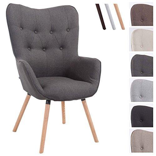 CLP Retro-Stuhl mit Armlehne AALBORG, Stoff-Bezug, Holz-Gestell Eiche, belastbar bis 160 kg, sesselförmiger Sitz, gepolstert, Sitzhöhe 49 cm Dunkelgrau, Holzgestell Farbe: Natura