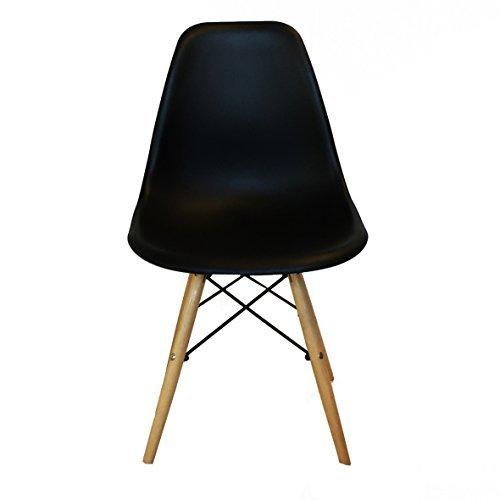 2er Set Design Stuhl mit Sitzschale für Wohnzimmer Büro Esszimmer, Retro Vintage (Schwarz)
