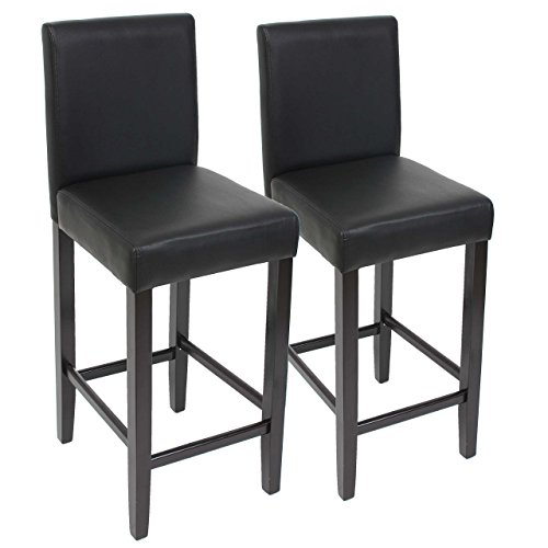 2x Barhocker Barstuhl M37 Leder ~ schwarz, dunkle Füße