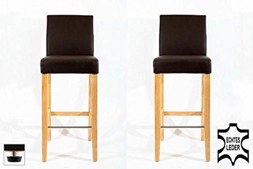 2x Barhocker Holz braun ECHT-LEDER verstellbare Bodengleiter gepolstert