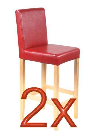 2x Barhocker Vicenza, Holz+LEDER