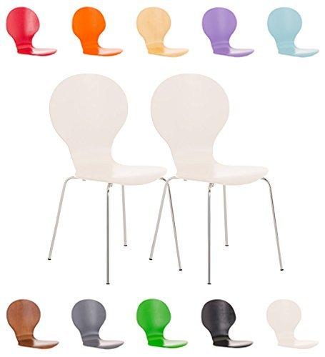 CLP 2x Stapel-Stuhl DIEGO, Holzsitz, ergonomisch geformt, Sitzfläche, robust, pflegeleicht, bis zu 12 Farben wählbar Weiß