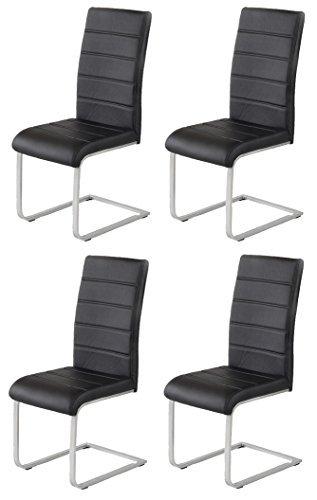 4 x Design Stuhl Freischwinger Jan Piet 30 Kunstleder schwarz NEU Jetzt 120 kg belastbar Gestell einteileilig Stuhl Esszimmerstuhl