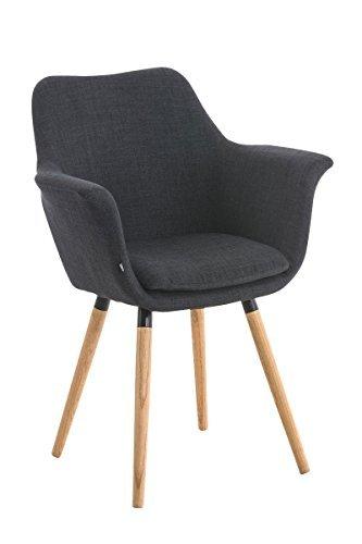 CLP Besucher-Stuhl VANCE, Holzgestell, Stoff-Bezug, Polsterstuhl mit Armlehne Grau