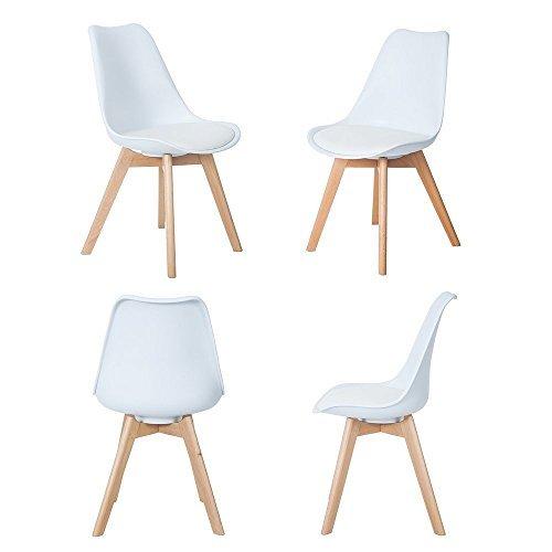4er Set Esszimmerstühle mit Massivholz Buche Bein, Retro Design Gepolsterter Stuhl Küchenstuhl Holz, Weiß