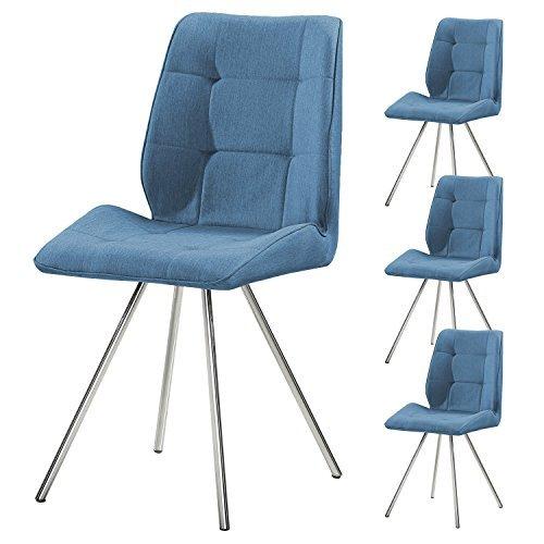 4er Set SVITA Esszimmer-Stuhl Stoffbezug Wohnzimmerstuhl Retro-Design gepolstert Farbwahl (blau)