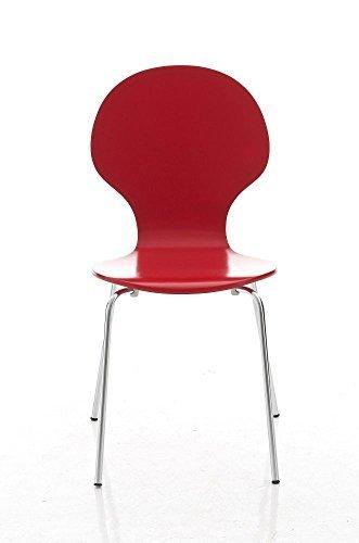 CLP Stapel-Stuhl DIEGO, Holzsitz, robust, pflegeleicht, ergonomisch geformt, 12 Farben Rot