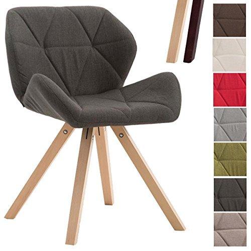 CLP Design Retro-Stuhl TYLER, Bein-Form square, Stoff-Sitz gepolstert, Buchenholz-Gestell, Dunkelgrau, Gestellfarbe: Natura