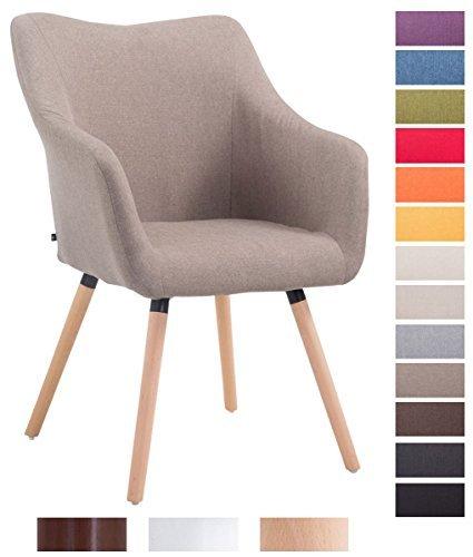CLP Design Besucher-Stuhl MCCOY V2 mit Armlehne, Stoff-Bezug, Holz-Gestell, Sitzfläche gepolstert taupe, Gestellfarbe: natura