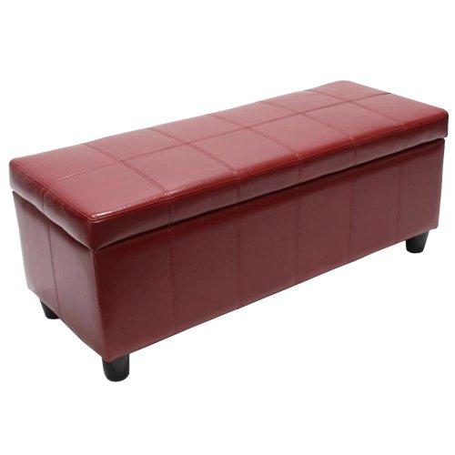 Aufbewahrungs-Truhe Sitzbank Kriens, Leder + Kunstleder, 112x45x45cm ~ rot