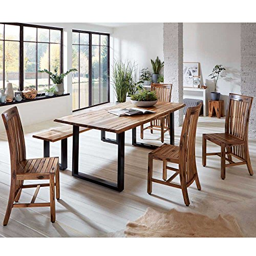 Baumkantentisch mit Bank und Stühlen Akazie massiv (6-teilig) Pharao24