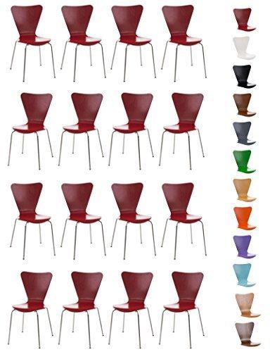 CLP 16x robuster und pflegeleichter Stapelstuhl CALISTO, ergonomisch geformter Sitzfläche, Besucherstuhl, Wartezimmerstuhl, stabiles Chromgestell, stapelbar,