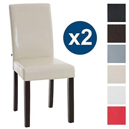CLP 2x Esszimmer-Stuhl INA Holzgestell dunkel-braun, Bezug Kunstleder, Sitzhöhe 47 cm Creme