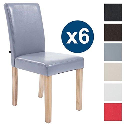 CLP 6 x Esszimmer-Stuhl INA, Holzgestell natura, Gastro-Stuhl Kunstleder Bezug, Sitzhöhe 47 cm Grau