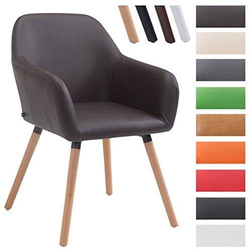 CLP Besucher-Stuhl ACHAT V2 mit Armlehne, max. Belastbarkeit 150 kg, Holz-Gestell, Kunstleder-Bezug, Sitzfläche gepolstert, mit Bodenschonern