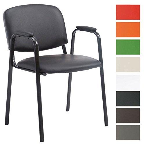CLP Besucher-Stuhl KEN PRO mit gepolsterter Armlehne, Kunstleder-Bezug, Warteraumstuhl, Konferenzstuhl, Messestuhl, stabiles Stahl-Gestell, max. Belastbarkeit 120 kg,