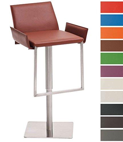 CLP Design Edelstahl-Barhocker CAYENNE, Echtleder (recycelt), höhenverstellbar 53 - 78 cm, geneigte Rückenlehne & Armlehnen