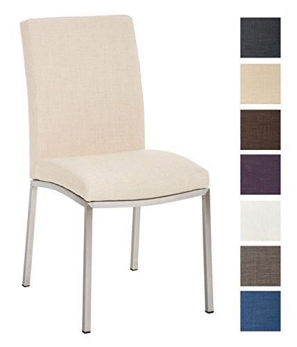 CLP Design Edelstahl Esszimmer-Stuhl GRENOBLE mit Stoffsitz, Sitzhöhe 48 cm Creme