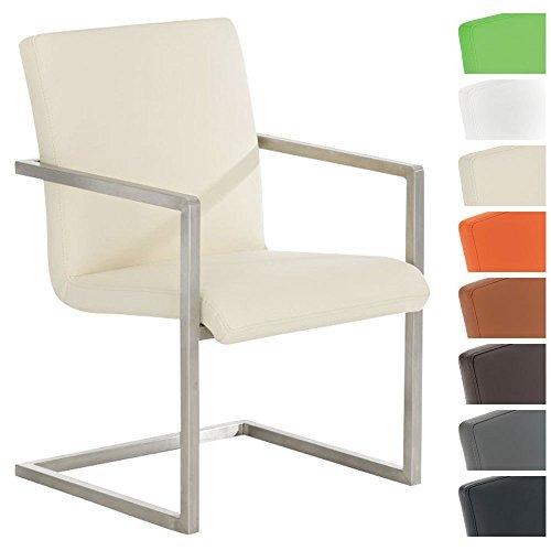 CLP Design Edelstahl Freischwinger-Stuhl JAVA V2, Besucherstuhl mit Armlehne, Konferenzstuhl gepolstert, Kunstleder-Bezug in verschiedenen Farben Creme