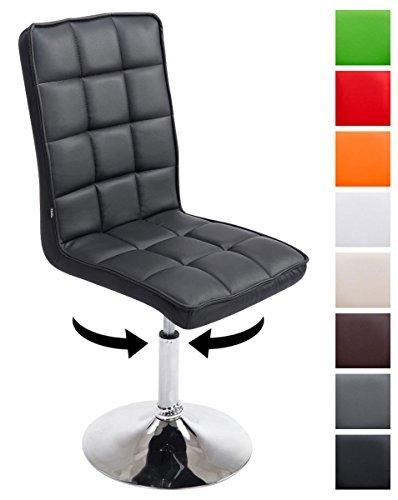CLP Design Esszimmer-Stuhl PEKING V2 mit Kunstleder-Bezug, max. belastbar bis 135 kg, gepolstert, Sitz drehbar und höhenverstellbar 41 - 55 cm Schwarz