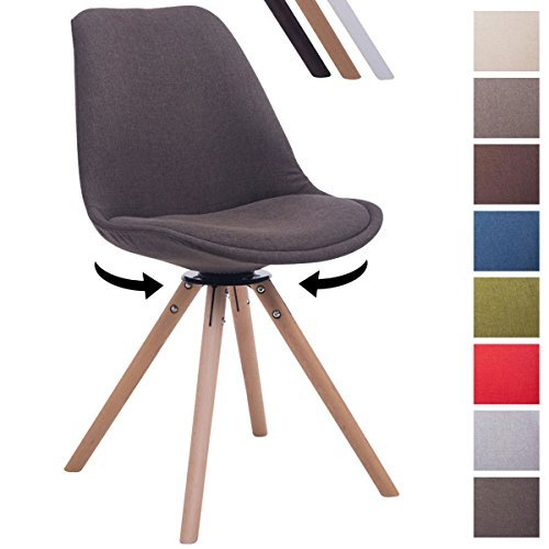 CLP Design Retro-Stuhl TROYES RUND, Stoff-Sitz, gepolstert, drehbar Dunkelgrau, Holzgestell Farbe natura, Bein-Form rund