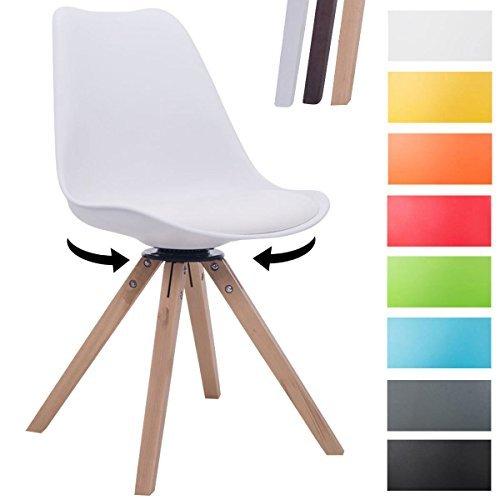 CLP Design Retro-Stuhl TROYES SQUARE, Kunststoff-Lehne, Kunstleder-Sitz gepolstert drehbar Weiß, Holzgestell Farbe natura, Bein-Form eckig