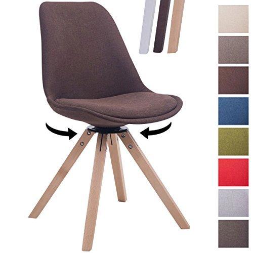 CLP Design Retro-Stuhl TROYES SQUARE, Stoff-Sitz gepolstert, drehbar Braun, Holzgestell Farbe natura, Bein-Form eckig