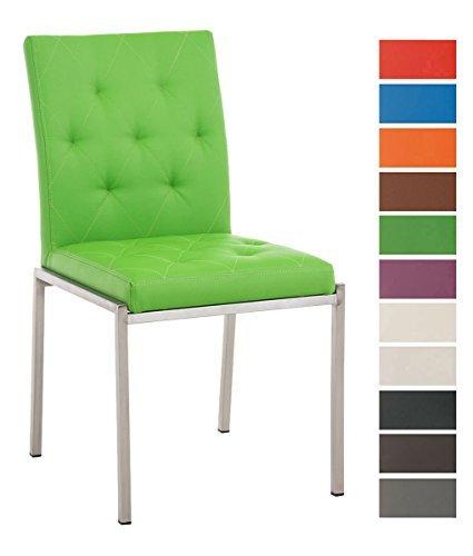 CLP Edelstahl Esszimmer-Stuhl CHARLY, Kunstleder-Bezug, modern, Sitzhöhe 48 cm Grün