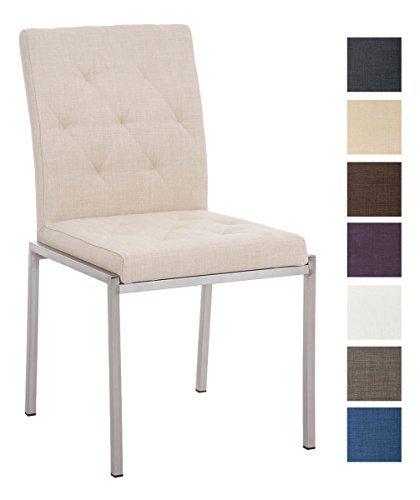 CLP Edelstahl Esszimmer-Stuhl CHARLY mit Stoffsitz, modernes & schlichtes Design, Sitzhöhe 48 cm, bis zu 7 Farben wählbar Creme