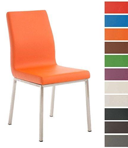 CLP Edelstahl Esszimmer-Stuhl COLMAR mit Kunstledersitz, modernes & schlichtes Design, Sitzhöhe 47 cm, bis zu 11 Farben wählbar Orange