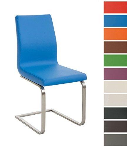 CLP Esszimmer-Stuhl BELFORT, Freischwinger-Stuhl mit Edelstahl-Gestell, Kunstleder-Sitz, bis zu 11 Farben Blau