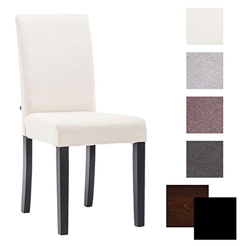 CLP Esszimmer-Stuhl INA, Holzgestell, Stoff-Bezug, Sitzhöhe 47 cm - FARBWAHL Bezug Farbe creme, Holzfarbe schwarz