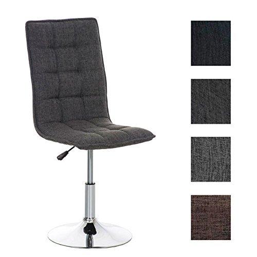 CLP Esszimmer-Stuhl PEKING mit Stoffsitz, Lounge-Sessel Charakter, Sitzhöhe verstellbar 40-54 cm, Sitzfläche drehbar, modern Hellgrau