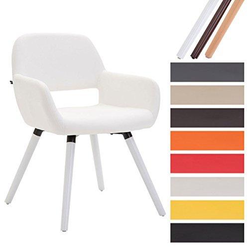 CLP Esszimmerstuhl BOBBY mit Kunstlederbezug, Wartezimmerstuhl mit Armlehnen, Besucherstuhl mit Buchenholzgestell, Küchenstuhl, Weiß, Gestellfarbe: Weiß