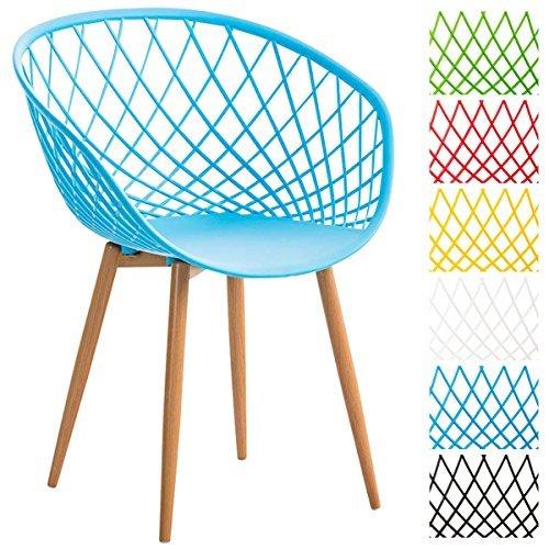 CLP Esszimmerstuhl MORA mit Kunststoff Sitzschale, Wartezimmerstuhl, Retrostuhl, Besucherstuhl mit Metallgestell in Holzoptik, Blau