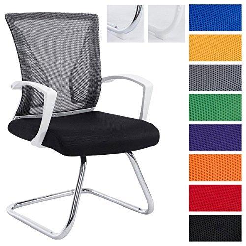 CLP Freischwinger Stuhl mit Armlehne BONNIE, Besucherstuhl, Metallgestell, Netzbezug, belastbar ca. 130 kg
