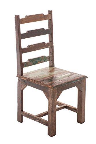 CLP Holz-Esszimmerstuhl AMBA in used Vintage-Look, massives recyceltes Teakholz, Sitzhöhe 47 cm Bunt