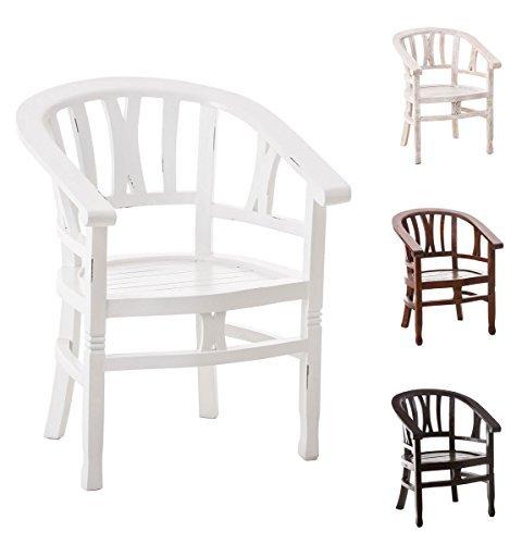 CLP Mahagoni Holz Stuhl ERWIN mit Holzsitz, im Kolonialstil handgefertigt, bis zu 4 Farben wählbar Antik Weiß